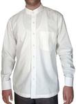 Mens White Cotton Nehru Collar Shirt Long Sleeve