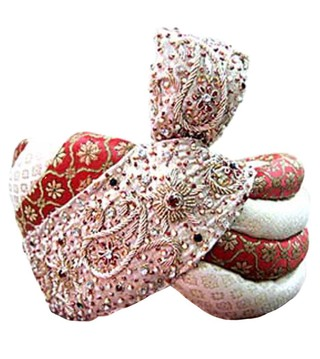 Wedding Cream-red Turban Pagari Safa Hat For Groom