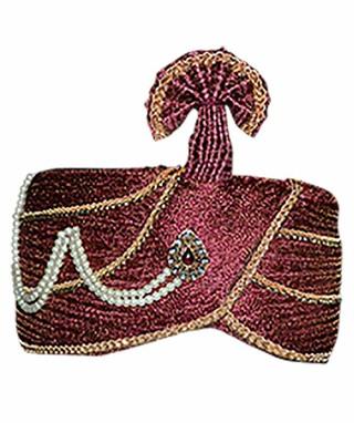Wedding Maroon Turban Pagari Safa Hat for Partywear