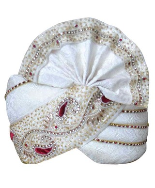 Brocade Designer Turban OffWhite Pagari Safa Hat For Groom