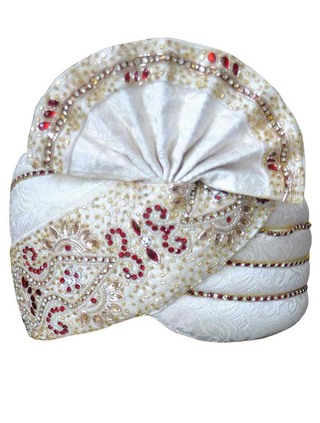 Traditional Brocade Cream Wedding Pagari Safa Groom Hats