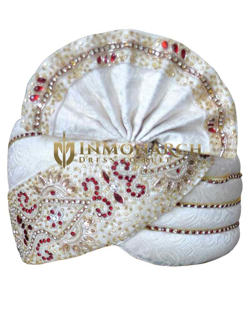 Traditional Brocade Cream Wedding Pagari Safa Groom Hats