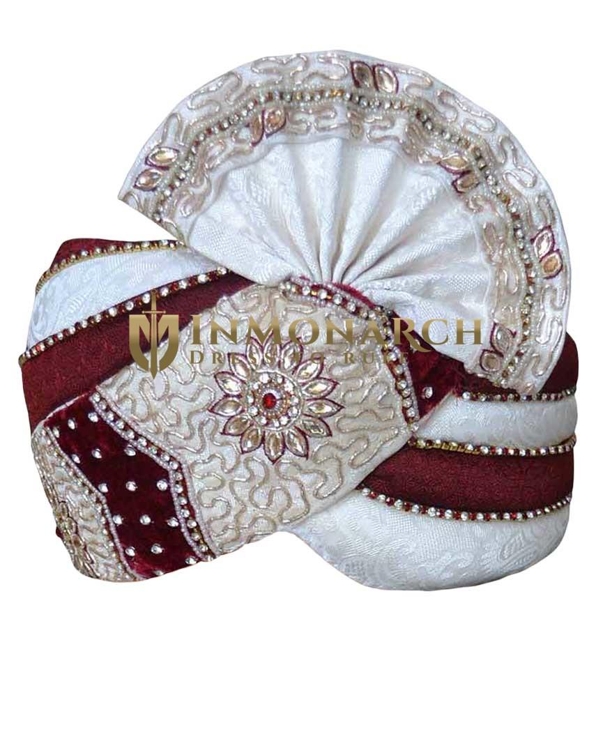 Cream and maroon Combination Turban Pagari Safa Groom Hats