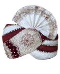 Cream and maroon Combination Turban Pagari Safa Groom Hats