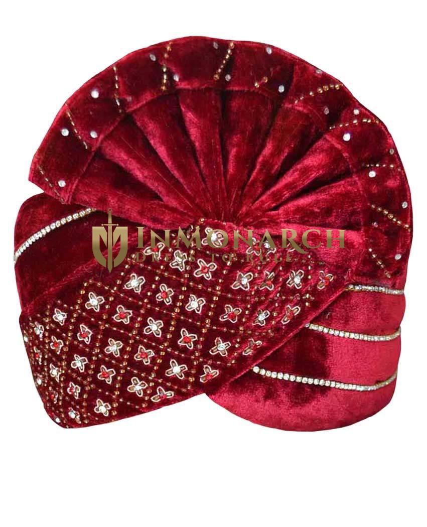 Designer Maroon Velvet Turban Pagari Safa Groom Hats