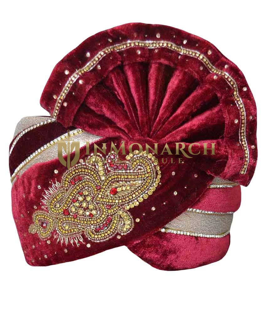 Hand Work Maroon Velvet Turban Pagari Safa Groom Hats