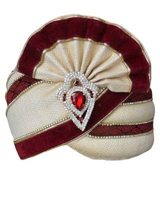 Wedding Cream Maroon Safa Pagari Safa Groom Hats