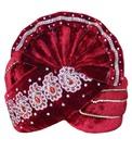 Paisley Motif Velvet Maroon Turban Pagari Safa Groom Hats