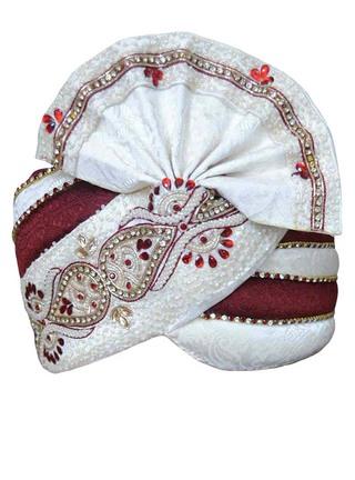Groom Turban Cream maroon Pagari Safa Groom Hats