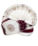 Embroidered Cream Maroon Wedding Turban Pagari Safa Groom Hats