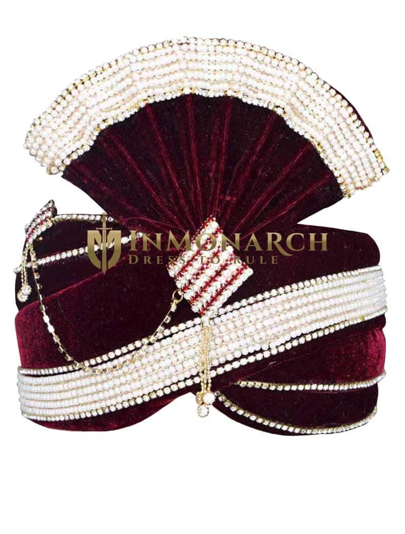 Alluring Maroon Velvet Turban Pagari Safa Groom Hats