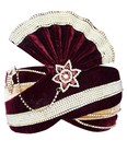 Maroon Velvet and Beige Art Silk Turban Pagari Safa Groom Hats