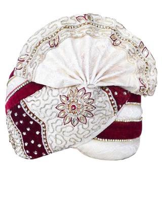 Wedding Turban Cream-Maroon Pagari Safa Groom Hats
