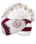 Wedding Turban Cream-Maroon Pagari Safa Groom Hats
