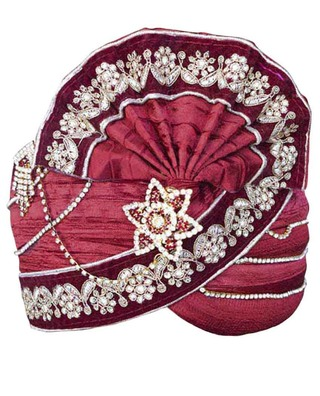 Perfect Look Maroon Wedding Turban Pagari Safa Groom Hats