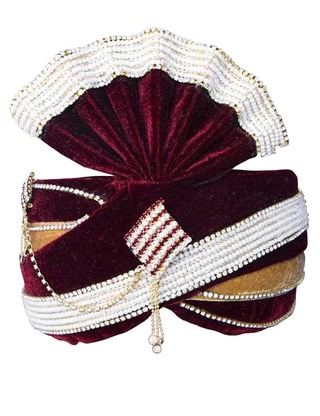 Moti Work Maroon Wedding Groom Turban Pagari Safa Groom Hats