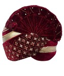 Stone and Zari Work Maroon Turban Pagari Safa Groom Hats