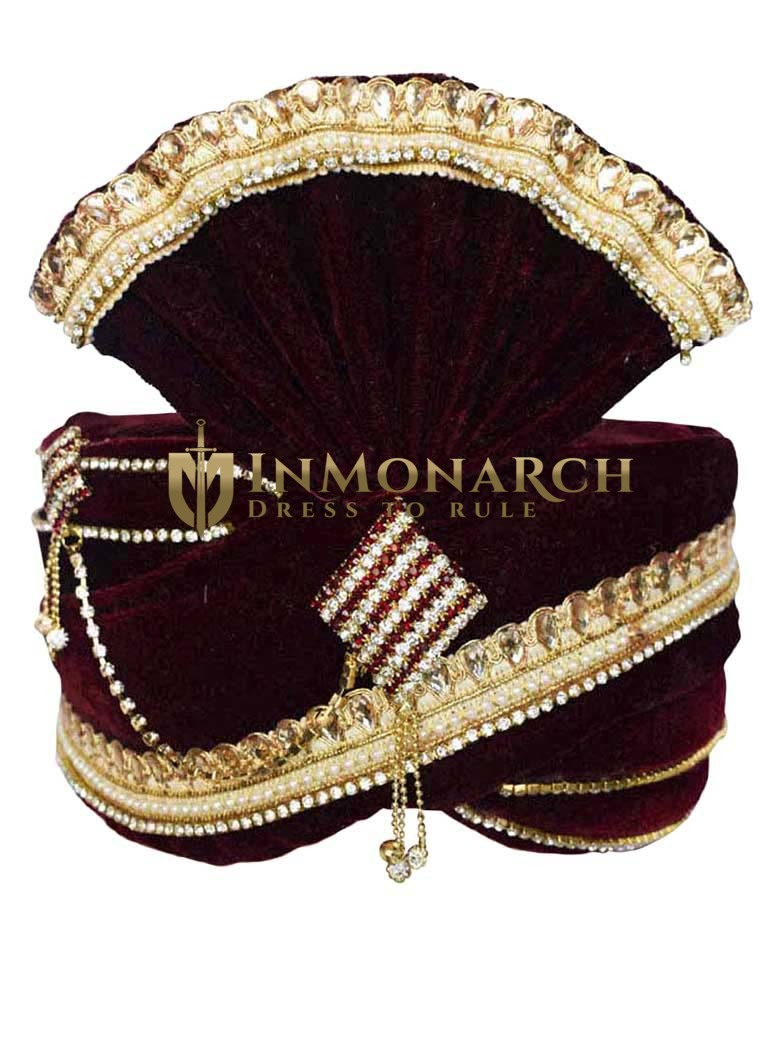 Wedding Zari Work Maroon Turban Pagari Safa Groom Hats