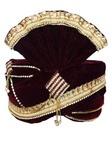 Wedding Zari Work Maroon Turban Pagari Safa Groom Hats