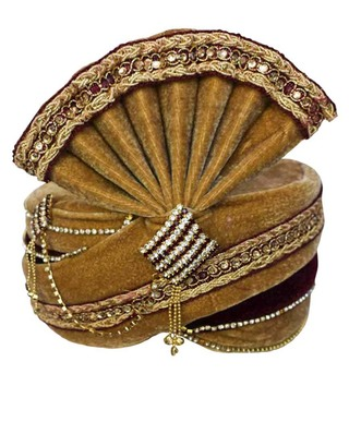 Traditional Brown Wedding Turban Pagari Safa Groom Hats