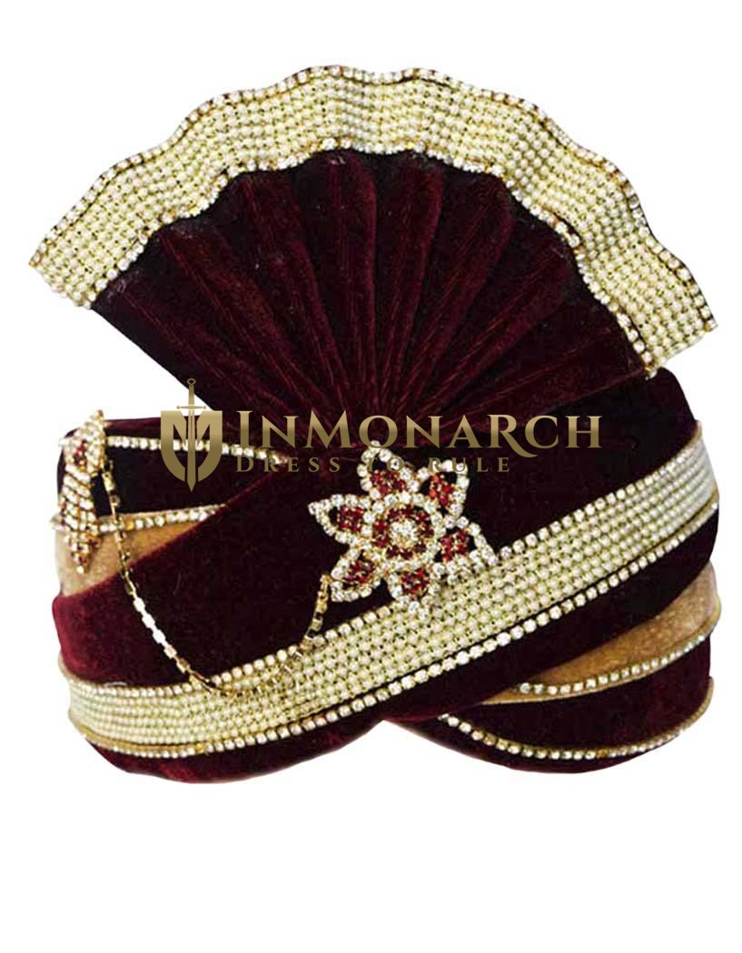 Royal Groom Turban Maroon Golden Pagari Safa Groom Hats