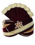 Royal Groom Turban Maroon Golden Pagari Safa Groom Hats