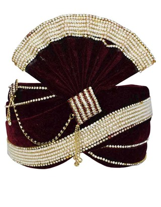Attrative Groom Turban Maroon Pagari Safa Groom Hats