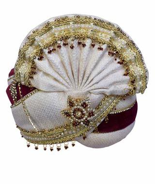 Heavy Zari Work Turban Cream-Maroon Pagari Safa Groom Hats