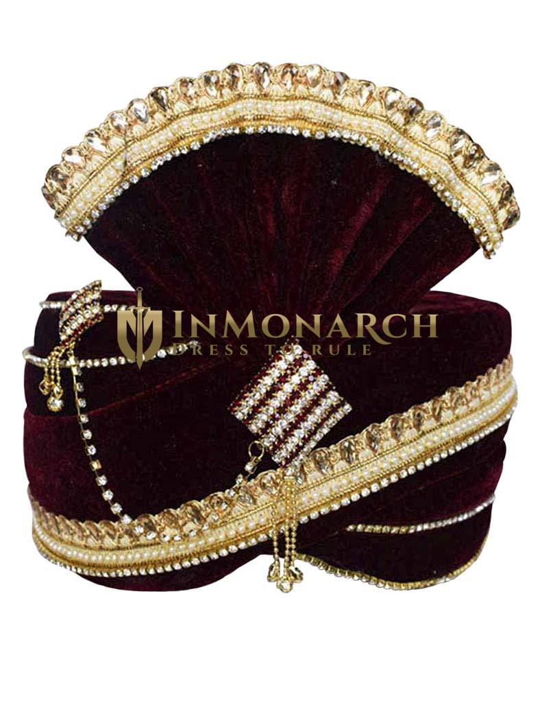 Matching Gota Patti Bead Maroon Turban Pagari Safa Groom Hats