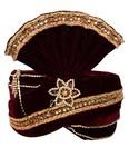 Crafted With Stone Embroidery Maroon Turban  Pagari Safa Groom Hats