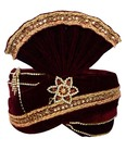 Crafted With Stone Embroidery Maroon Turban  Pagari Safa Groom Hats