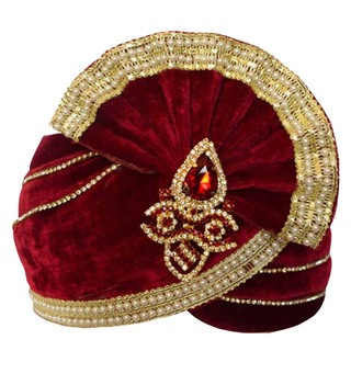 Groom's Wedding Turban Red Pagari Safa Groom Hats