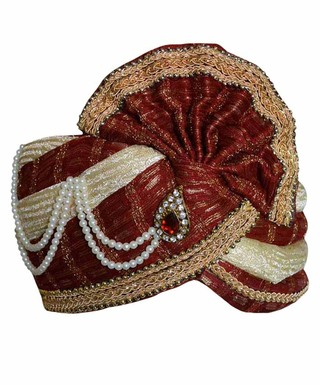 Perfect Wedding Cream-maroon Turban Pagari Safa Hat For Groom