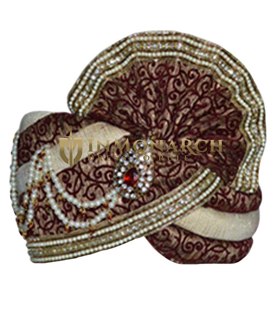 Embroidered Wedding Cream Turban Pagari Safa Hat For Groom