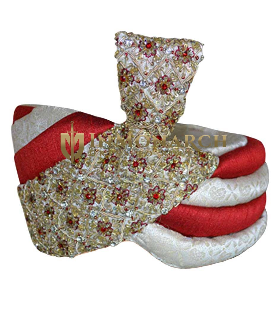 Designer Wedding Red and cream Turban Pagari Safa Hat For Groom