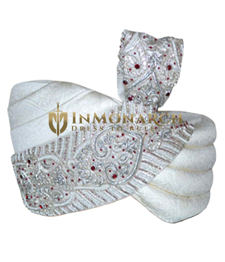 Sober Designer Wedding Cream Turban Pagari Safa Hat For Groom
