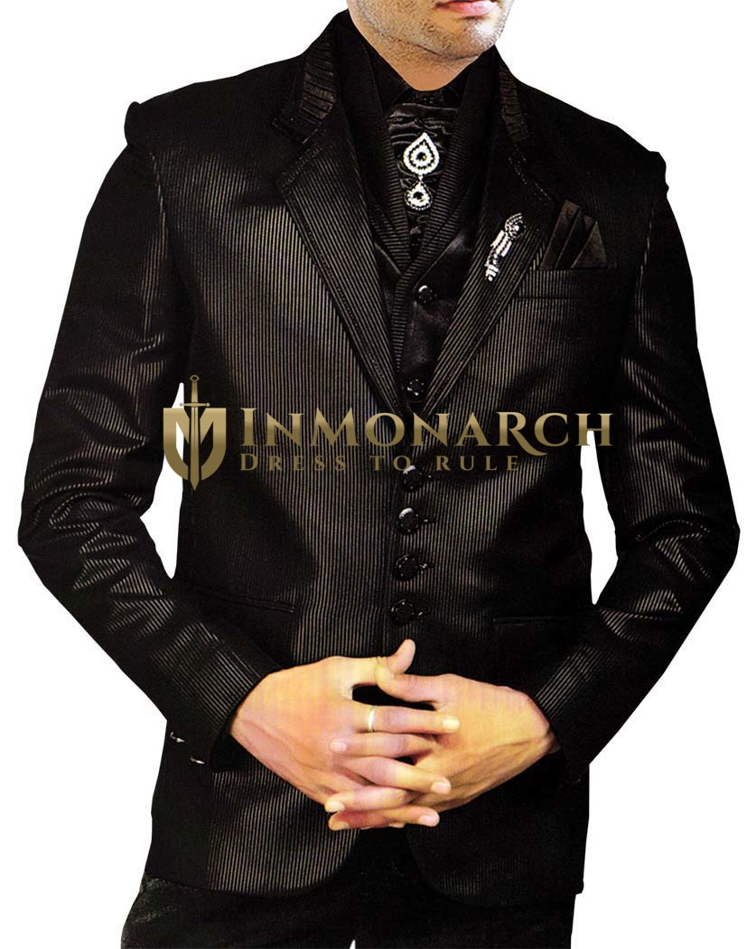 Mens Black Tuxedo Wedding Suit Designer Party Wear 8 pc