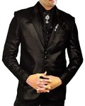 Mens Black 8 pc Tuxedo Wedding Suit Notched Lapel