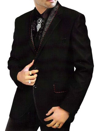 Mens Black Tuxedo Prom Suit Latest Wedding 5 Pc