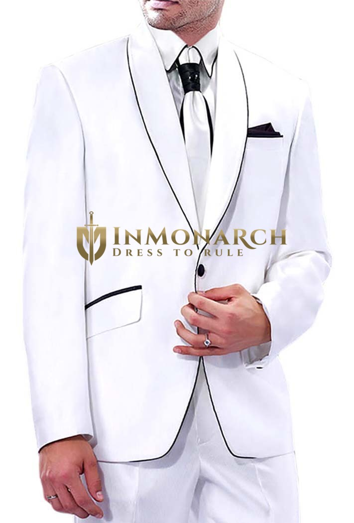Mens White Polyester Tuxedo Suit Classic Look 5 Pc