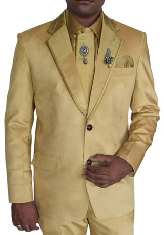 Mens Golden 7 Pc  Tuxedo Suit Engagement
