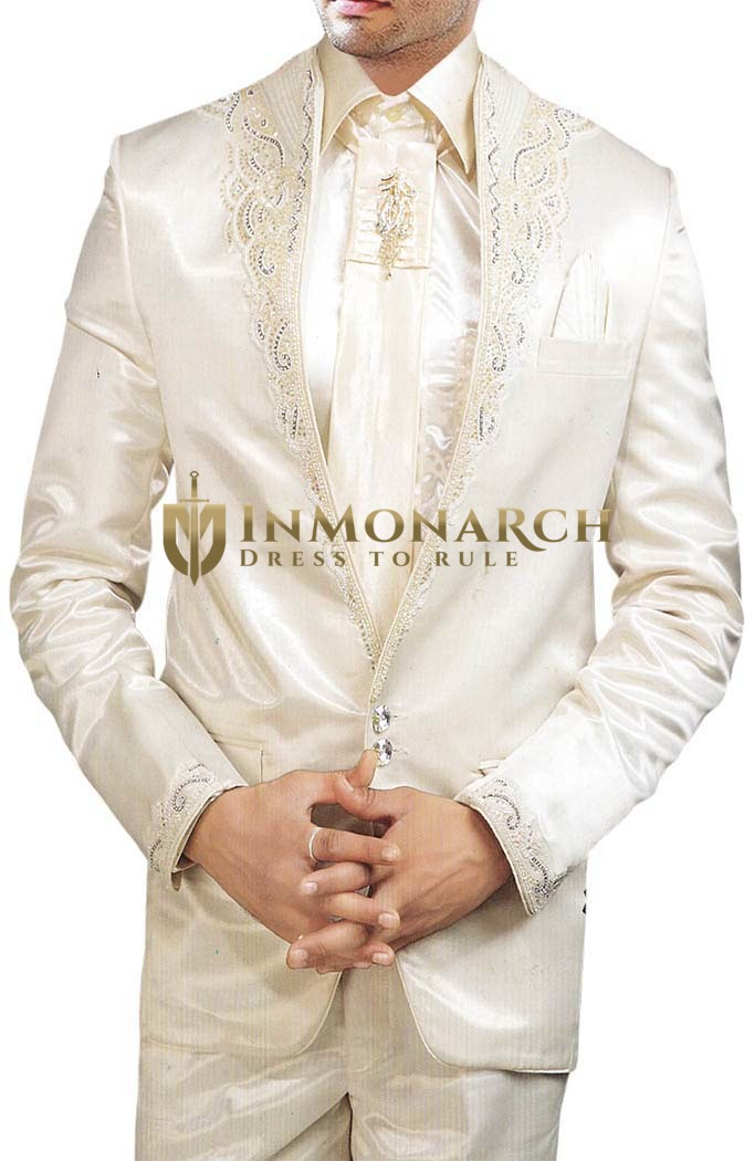 Mens Cream 6 pc Tuxedo Suit Unique Look Wedding
