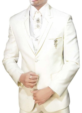 Mens Cream Tuxedo Suit Reception Party Wear 7 Pc
