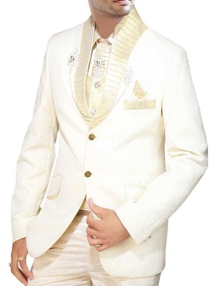 Mens Cream Groom Tuxedo Suit Wedding Look 8 pc