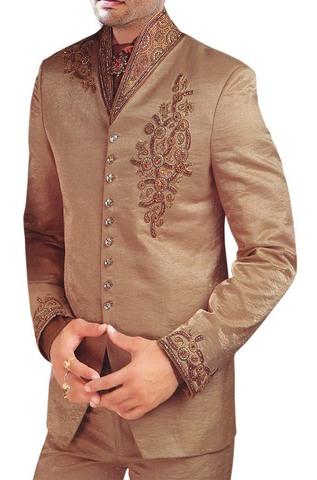 Mens Tan Tuxedo Suit Wedding Look Designer 5 pc