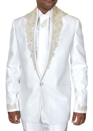 Mens White Tuxedo Suit Wedding One Button 5 pc