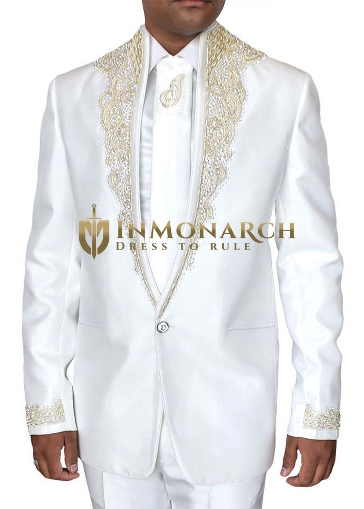 Mens White Tuxedo Suit Wedding One Button 5 pc