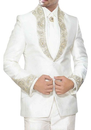 Mens White Tuxedo Suit Golden Work Designer 5 pc