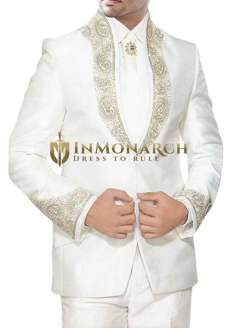 Mens Cream 5pc Tuxedo Suit with fashionable hand embroidered Jacket