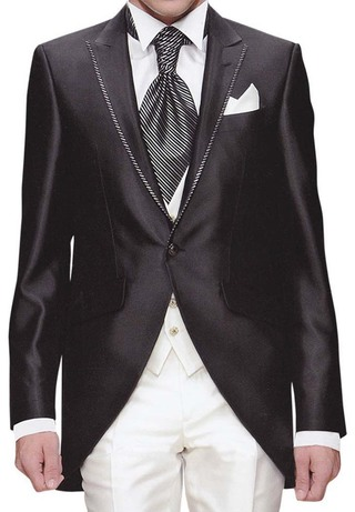 Mens Black Tuxedo Suit Modern Look Wonderful 6 Pc